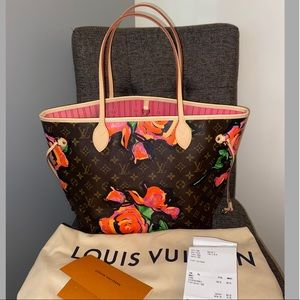 🌹Louis Vuitton Stephen Sprouts Roses Neverfull MM